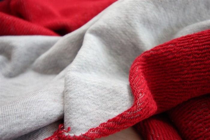 Футер 3-х нитка диагональ петля Серый меланж-Красный - фото 5732