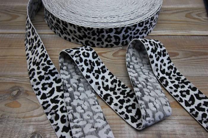 Резинка боксернаяя мягкая Леопард белый ширина 40 мм арт 40-13 - фото 6310