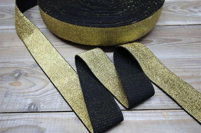 Резинка тканая металлизированая черный / золото ширина 40 мм - фото 6314