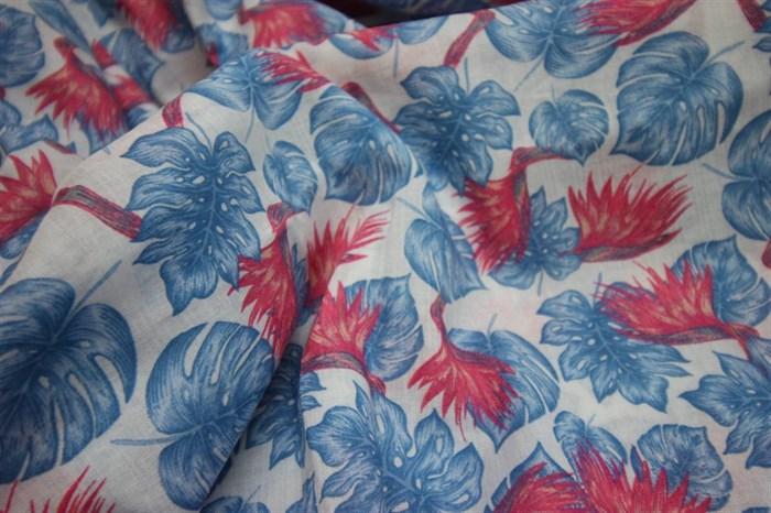 Марлевка Красные цветы и синие листья - фото 6985