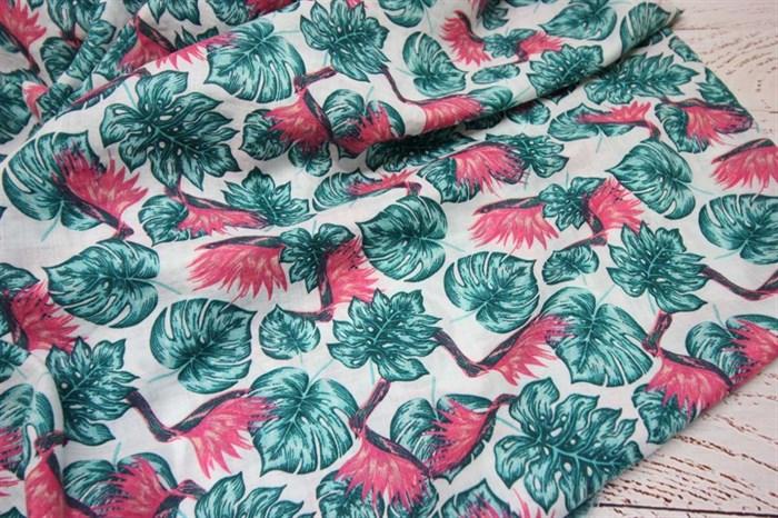 Марлевка Красные цветы и зеленые листья - фото 6988