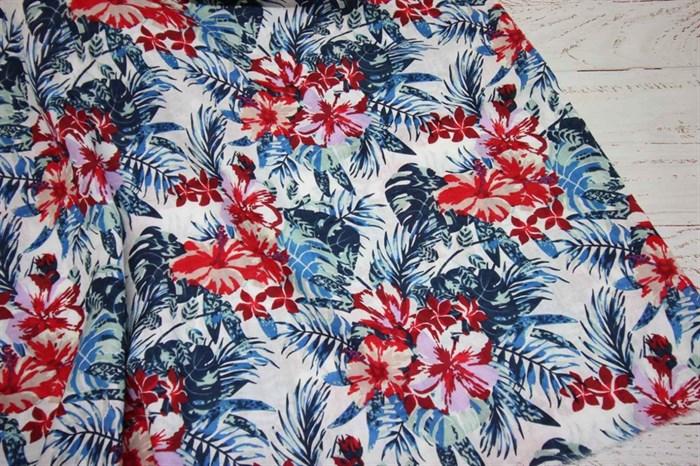 Марлевка Экзотические цветы и листья темно-синий - фото 6991