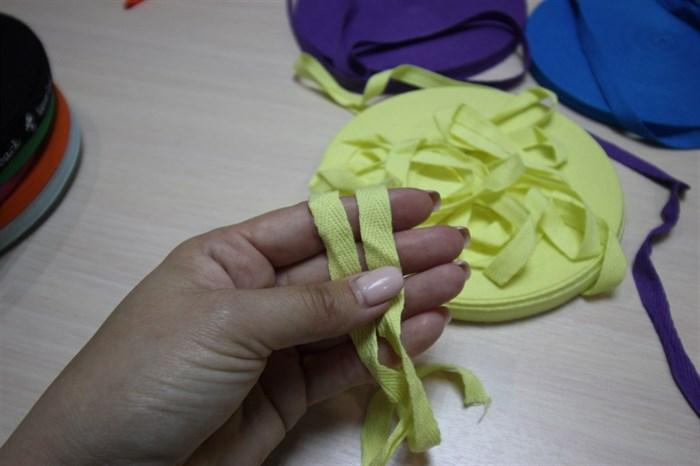 Киперная хлопковая лента 1 см цвет Светло - желтый - фото 7033