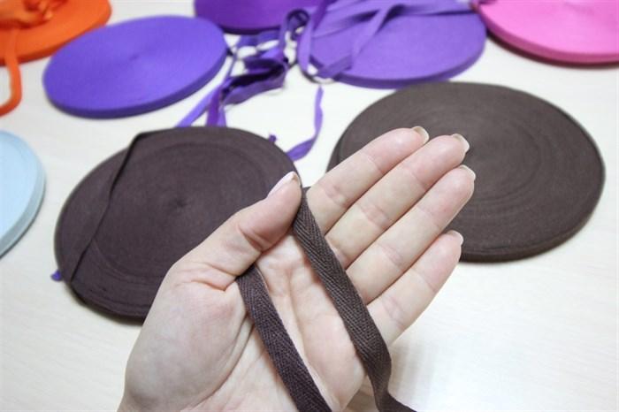 Киперная хлопковая лента 1 см цвет Темно - коричневый - фото 7034