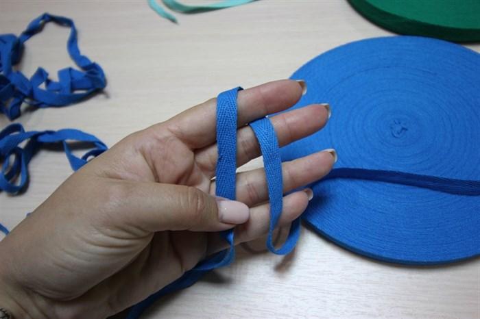 Киперная хлопковая лента 1 см цвет Бирюза - фото 7038