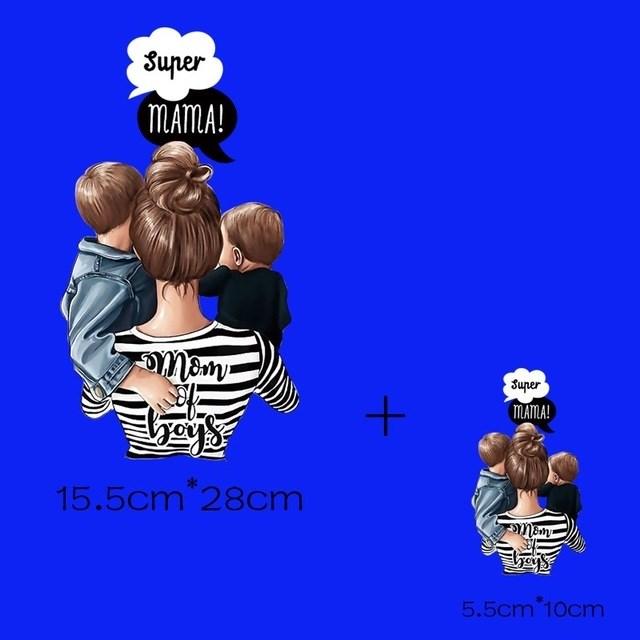 Термотрансфер Супер мама два сына 2 шт - фото 8096