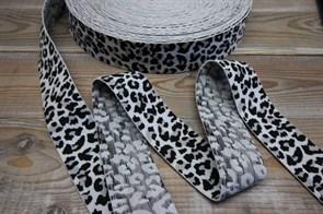 Резинка боксернаяя мягкая Леопард белый ширина 40 мм арт 40-13