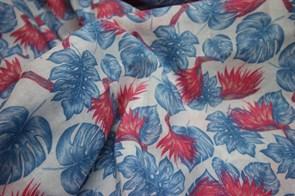 Марлевка Красные цветы и синие листья