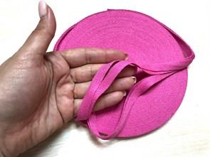 Киперная хлопковая лента 1 см цвет Розовый