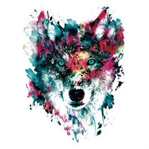 Термотрансфер Волк акварель